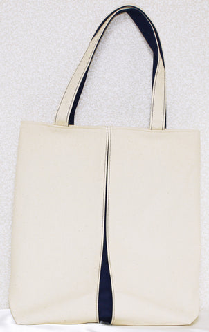 "Bag ""Canvas ougi pleats tote bag M ( ivory / navyblue )"" - JapaneseGoods.jp - 1"