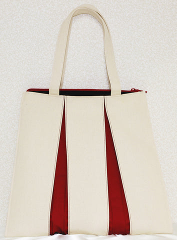 "Bag ""Canvas ougi tote bag TF ( ivory / red )"" - JapaneseGoods.jp"