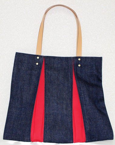 "Bag ""<ougi> denim tote bag WH ( denim / red )"" - JapaneseGoods.jp - 1"
