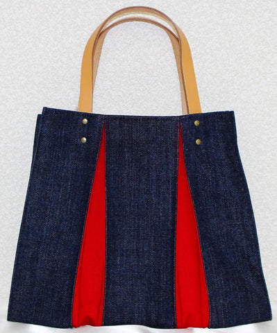 "Bag ""<ougi> denim tote bag CH ( denim / red )"" - JapaneseGoods.jp - 1"
