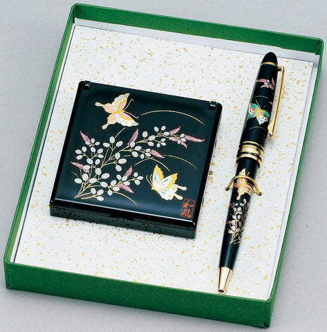 "Assorted Set ""Lacquer Craft Stationary Set Butterfly"" - JapaneseGoods.jp"