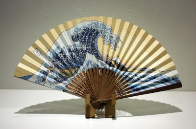 "Japanese Folding Fan ""NAMIURA"" & Fan Stand set - JapaneseGoods.jp - 1"