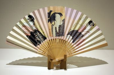 "Japanese Folding Fan ""BIJINGA"" & Fan Stand set - JapaneseGoods.jp - 1"