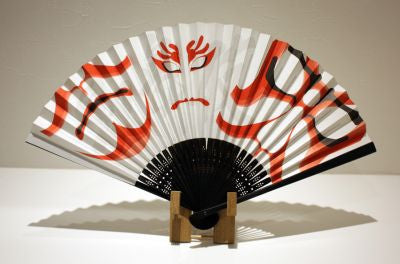 "Japanese Folding Fan ""KABUKI"" & Fan Stand set - JapaneseGoods.jp - 1"