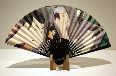 "Japanese Folding Fan ""SHARAKU"" & Fan Stand set - JapaneseGoods.jp - 1"