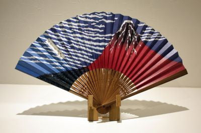 "Japanese Folding Fan ""AKAFUJI"" & Fan Stand set - JapaneseGoods.jp - 1"