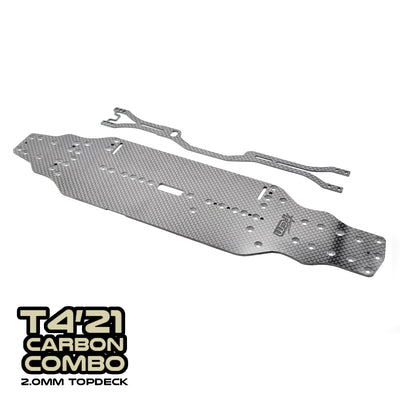 SlimFlex 2.2mm Carbon Chassis and CentraFlex 2.0mm Topdeck for XRAY T4'21 Combo