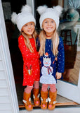 Snow Man Dots Applique Dress