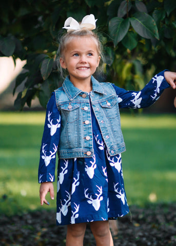 Navy Deer Dress