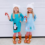 Winter Penguin Applique Dress
