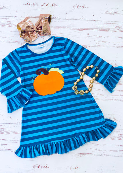 Pumpkin Stripes Dress Teal