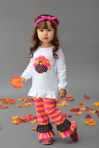 Lil Turkey Pant Outfit-Hot Pink/Orange