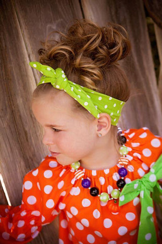 Lime/White Polka Dots Knotted Headband