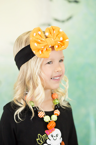 Black Orange Polka Dot Bow Headband