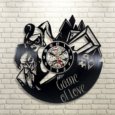"Harley Quinn & Joker ""Game of Love"" Vinyl Record Wall Clock"