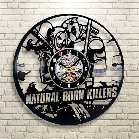 "Harley Quinn & Deadpool ""Natural Born Killers"" Vinyl Record Wall Clock"