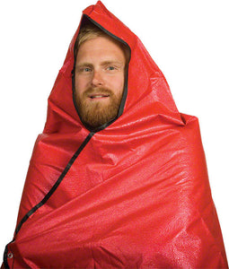 "Grabber - Grabber Hooded All Weather Survival Blanket: 5"" x 7"" Feet, Red - KakiOutdoor.com - 1"