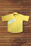 YELLOW FRONT POCKET CHILDREN LINEN SHIRT - Martinez Montiel
