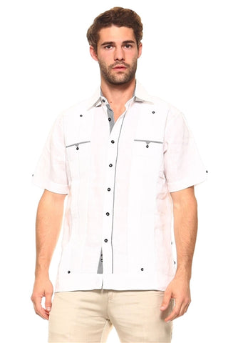 BATU SHORT SLEEVE RELAXED 2 POCKETS GUAYABERA LINEN SHIRTS - Martinez Montiel