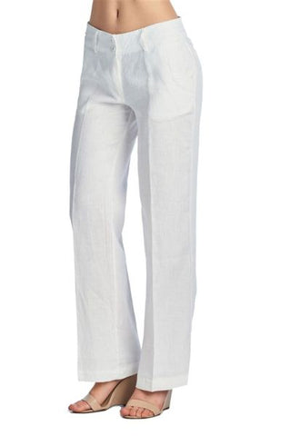 VICTORIA WOMEN'S 100% LINEN PANTS DESIGN ON WAIST - Martinez Montiel