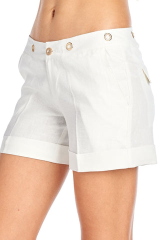 YELLOWSTONE CASUAL WOMEN LINEN SHORTS - Martinez Montiel