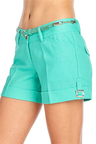 YOSEMITE CASUAL WOMEN LINEN SHORTS WITH BELT - Martinez Montiel