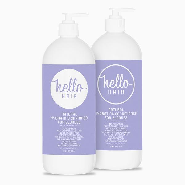 Hello Hair Hydrating Shampoo + Conditioner For Blondes 1L Duo