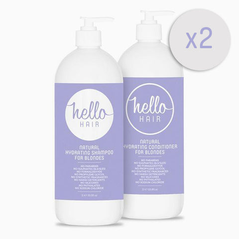 2 FOR 1: Hello Hair Hydrating Shampoo + Conditioner For Blondes 1L Duo