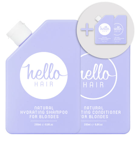 2 FOR 1: Hello Hair Natural Hydrating Shampoo + Conditioner for Blondes Duo