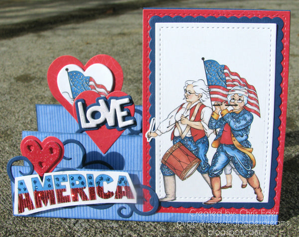 Patriotic Girlfriends 827 Step Card