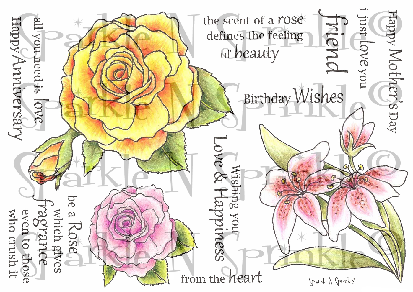 My Rose Garden Rubber Stamp Set [00-402P4]