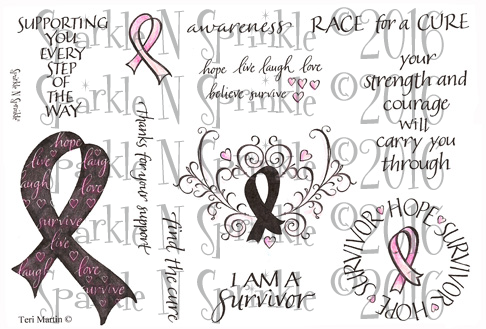 Ribbons For The Cure Rubber Stamp Set [00-407P4]