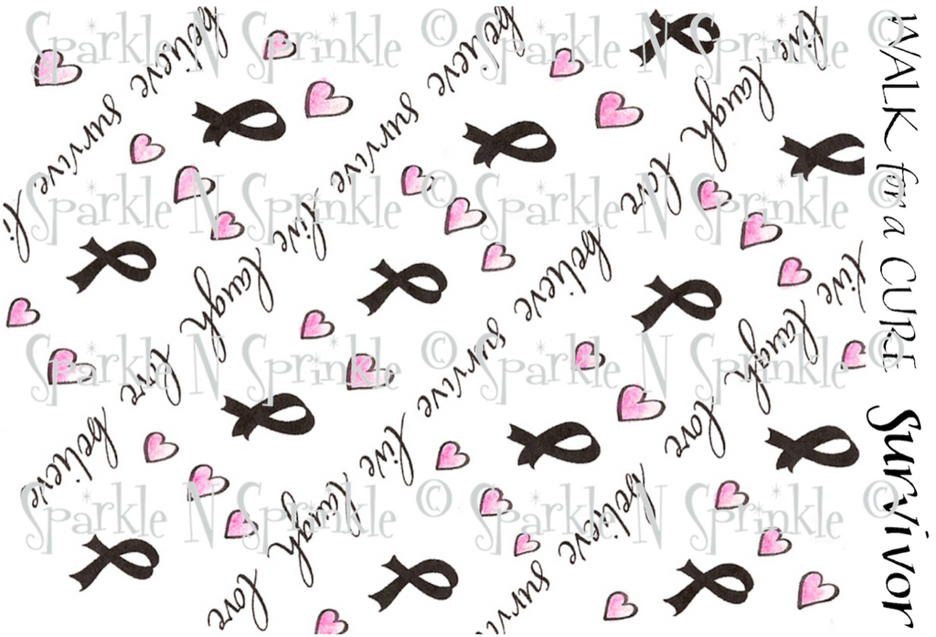Pink Ribbon Background Rubber Stamp Set [00-408P4]