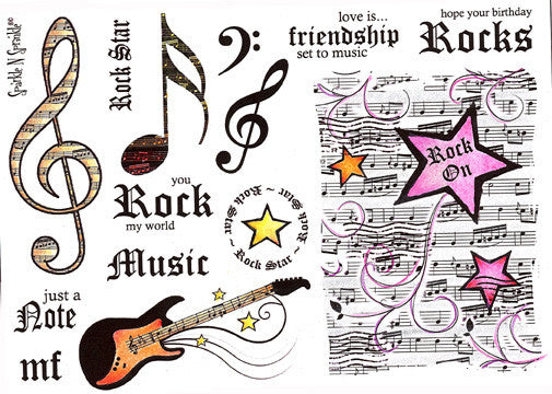 Rock 'N Roll - Rubber Stamp Set [00-428P4]