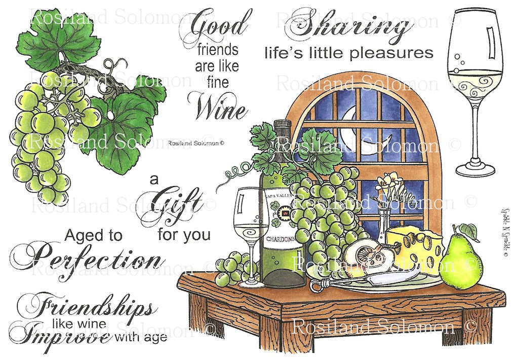 Wine Tableau Rubber Stamp Set [00-449P4]