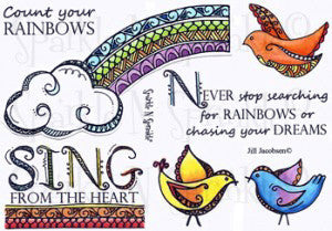 Zendoodle Rainbow Rubber Stamp Set [00-462P5]