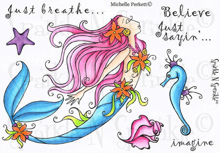 Serena Mermaid Rubber Stamp Set, 00-477P5