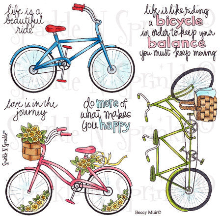 Bicycles Rubber Stamp Set [00-494P6]
