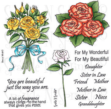 Rose Bouquet Rubber Stamp Set [00-506P6]