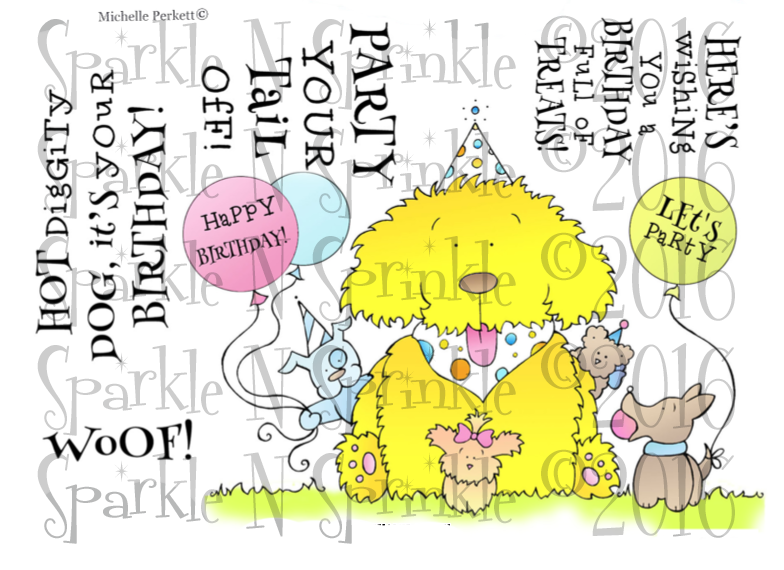 Woofie's Birthday Digital Stamp, DIGI758M