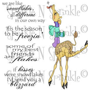Milton Giraffe Catching Snowflakes Rubber Stamp Set [00-787P6]