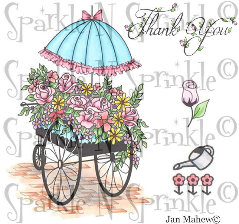 Flower Cart Rubber Stamp Set [00-798P6]