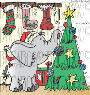 Elephant Christmas Tree Digital Stamp Set [Digi802BG]