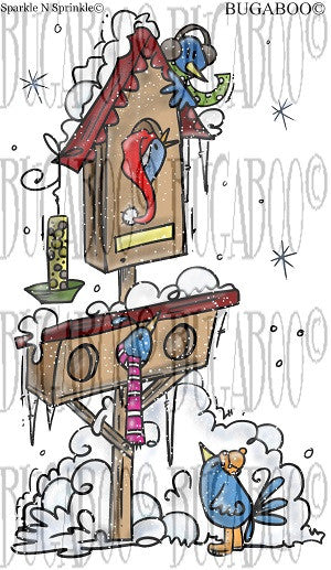 Winter Bird House Rubber Stamp Set [00-803P8]