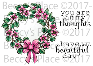 Leafy Flower Spring Wreath Rubber Stamp Set [00-815P5]