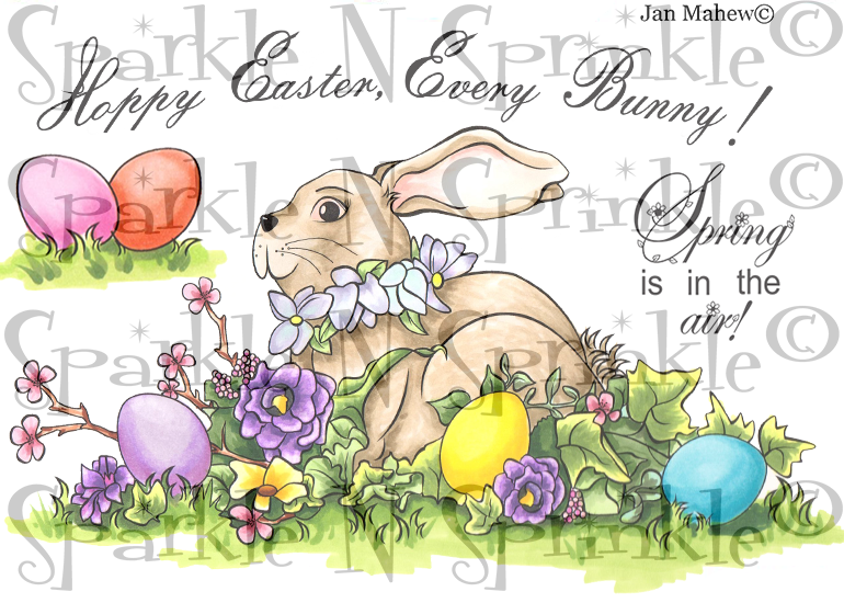 Spring Bunny Rubber Stamp [00-819P5]