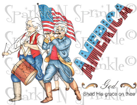 New Patriotic Girlfriends Rubber Stamp Set [00-827P5]