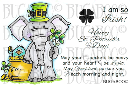 Edward Elephant St. Patty's Day 1 Rubber Stamp Set [00-828P5]