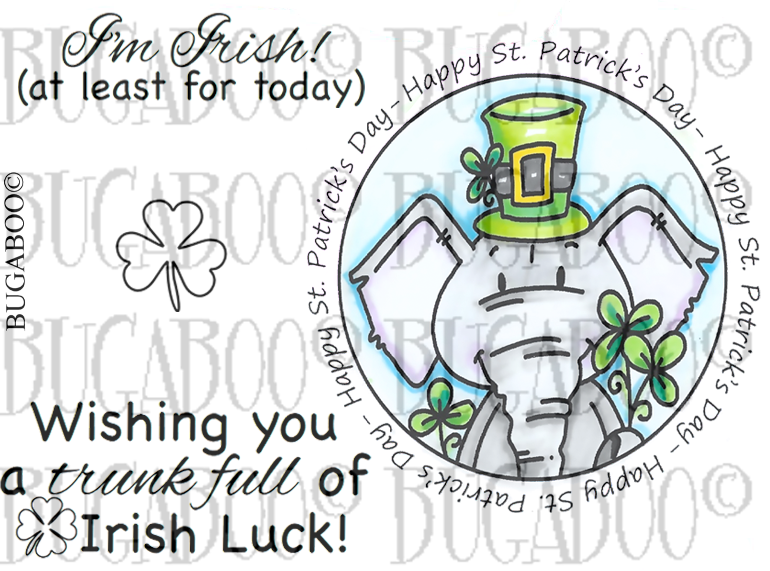 Edward Elephant St. Patrick's Day 2 Digital Stamp Set [Digi3129bg]
