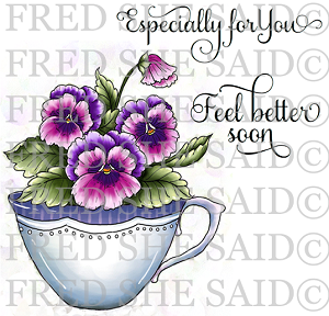 Pansies in Teacup Rubber Stamp Set [00-833P7]